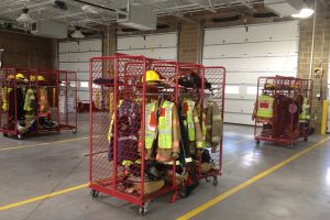 Fire turn out gear racks at Station 2