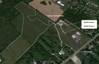 An overhead view of the one mile Walking Path. Click to enlarge.