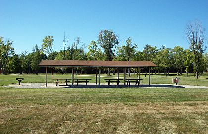 Shelter House 1 has 4 picnic tables and a grill. Click to enlarge.