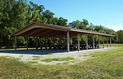 Shelter House 2 has 9 picnic tables and a grill. Click to enlarge.
