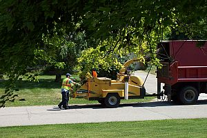 Springfield Township Road Crew chipping residential brush